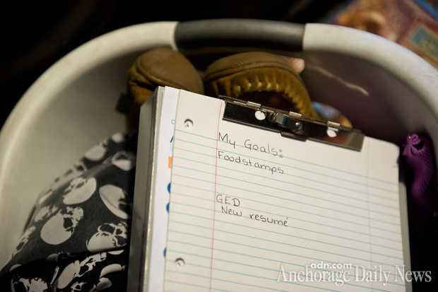 A notepad in Kellen Swanson's bedroom lists some of her goals. (MARC LESTER — Anchorage Daily News)
